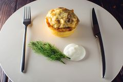 与鸡和蘑菇的菜丝汤服务与酸性稀奶油,荷兰芹 免版税库存图片
