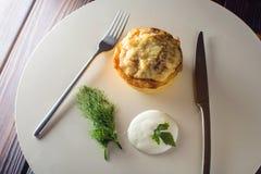 与鸡和蘑菇的菜丝汤服务与酸性稀奶油,荷兰芹 免版税图库摄影