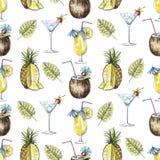 与鸡尾酒、菠萝和棕榈b的水彩无缝的样式 库存例证