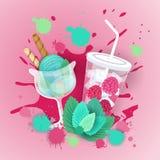 与鸡尾酒商标甜美丽的点心可口食物横幅的新鲜的冰淇凌 库存例证