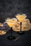 与鸡尾酒马蒂尼鸡尾酒的两块玻璃 库存照片
