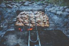 与鸡的夏天烤肉 正餐 免版税库存照片