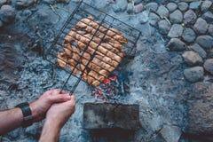 与鸡的夏天烤肉 正餐 库存照片
