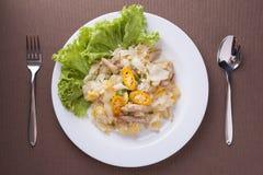 与鸡的油煎的面条在白色盘,晚餐的可口食物 免版税图库摄影
