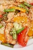 与鸡的温暖的沙拉 库存图片