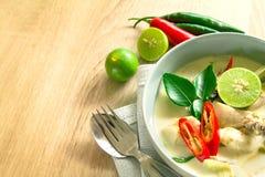 与鸡的辣乳脂状的椰子汤,泰国食物告诉了汤姆Kh 免版税图库摄影
