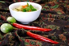 与鸡肉菜肴的泰国绿色咖喱 免版税库存照片