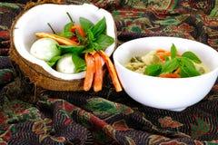 与鸡肉菜肴的泰国绿色咖喱 图库摄影