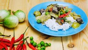 与鸡肉菜肴的泰国绿色咖喱 库存图片