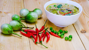 与鸡肉菜肴的泰国绿色咖喱 库存照片