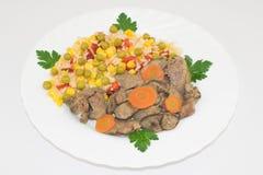 与鸡肝的夏威夷混杂的菜 免版税图库摄影