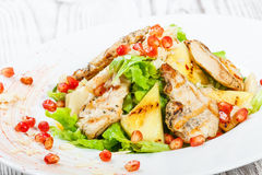 与鸡胸脯、瓜、菠萝、石榴种子、莴苣叶子和杏仁的新鲜的沙拉在木背景的板材 免版税库存照片
