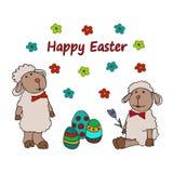 与鸡蛋巢的复活节传统标志卡片  图库摄影