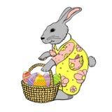 与鸡蛋篮子的兔子  库存图片