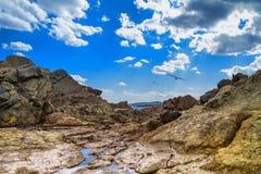 与鸥的岩石风景在与云彩的天空下 免版税库存照片