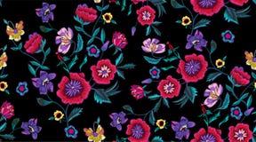 与鸦片和草甸的刺绣无缝的样式开花 库存例证