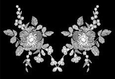 与鸦片和雏菊的刺绣白色花卉样式开花 在黑色的传染媒介传统民间时尚装饰品 免版税库存照片
