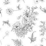 与鸦片的无缝的样式开花黄水仙,银莲花属,紫罗兰色  库存图片