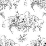 与鸦片的无缝的样式开花黄水仙,银莲花属,紫罗兰色  免版税库存图片