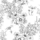 与鸦片的无缝的样式开花黄水仙,银莲花属,紫罗兰色  图库摄影