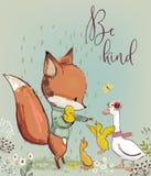 与鸭子的逗人喜爱的狐狸 向量例证