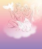 与鸽子的两个迷人的白色天使 免版税图库摄影
