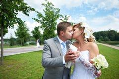 与鸽子的浪漫亲吻新娘和新郎在公园 库存图片