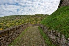 与鹅卵石的路有导致小山的绿色成长的 免版税图库摄影