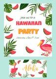 与鹈鹕党模板的热带夏威夷海报 邀请,横幅,卡片 免版税库存照片