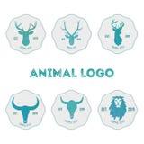 与鹿、水牛和狮子头的多角形行家商标在m 免版税库存照片