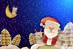 与鹿和圣诞老人的圣诞快乐卡片 免版税库存图片