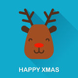 与鹿和文本愉快的xmas的冬天象 平的设计 库存图片