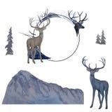 与鹿和鹿集合的水彩圆的框架 向量例证