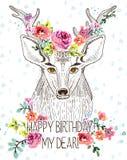 与鹿和水彩花的动画片背景 免版税库存图片
