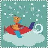 与鹿圣诞老人的圣诞卡 免版税库存照片