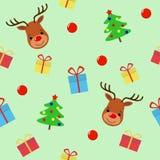 与鹿无缝的样式的圣诞快乐 假日动画片传染媒介 逗人喜爱的野生生物动物字符 向量例证