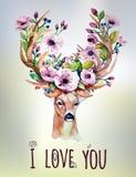 与鹿的传染媒介水彩手拉的花卉集合 免版税库存照片