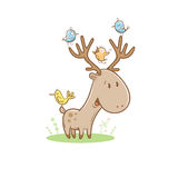 与鹿的卡片 免版税图库摄影