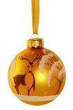 与鹿的图象的黄色球   免版税库存照片
