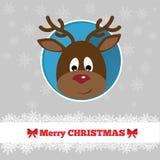 与鹿的圣诞卡模板 免版税图库摄影