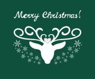 与鹿的圣诞快乐标志 库存图片
