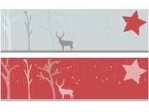 与鹿的圣诞节横幅 免版税库存图片