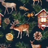 与鹿的水彩斯堪的纳维亚无缝的样式 手画房子,鹿,与锥体的杉木分支,桔子,桂香 向量例证