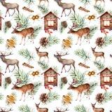 与鹿的水彩斯堪的纳维亚样式 手画房子,鹿,与锥体的杉木分支,桔子,肉桂条 向量例证
