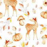 与鹿的水彩秋天无缝的样式 向量例证