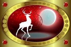 与鹿的红色圣诞节背景 库存照片