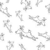 与鹿的逗人喜爱的手拉的无缝的样式 逗人喜爱的寒假背景 纺织品的,织品,装饰婴孩设计 库存例证