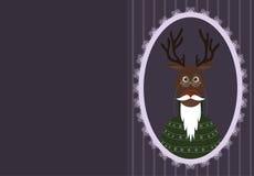 与鹿的贺卡在更旧的玻璃、毛线衣和胡子和髭 抽象空白背景圣诞节黑暗的装饰设计模式红色的星形 图库摄影