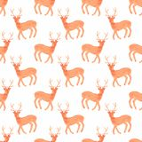 与鹿的水彩无缝的样式在 免版税图库摄影