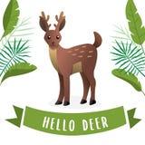 与鹿角的逗人喜爱的鹿 皇族释放例证